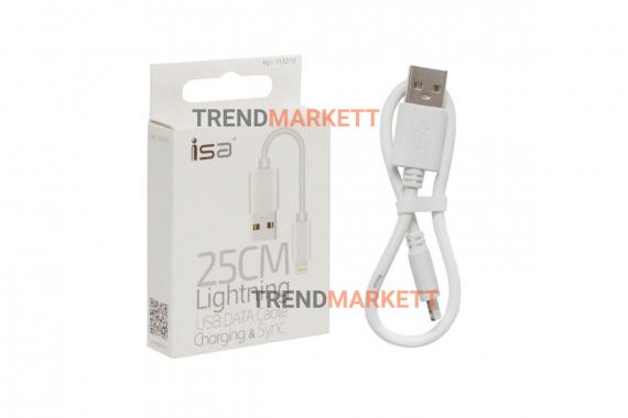 Кабель USB Lightning 25cm ISA