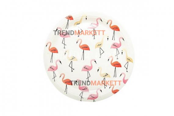 Тарелка бумажная «Фламинго»  белый 6 шт.
