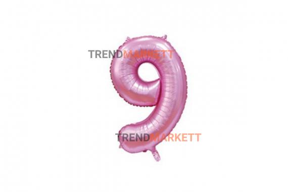 Шар цифра «9» розовый