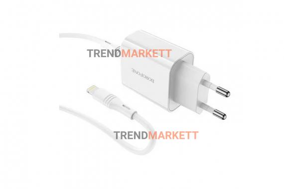 Сетевое зарядное устройство «Borofone BA56A» с кабелем Type-C/iOS