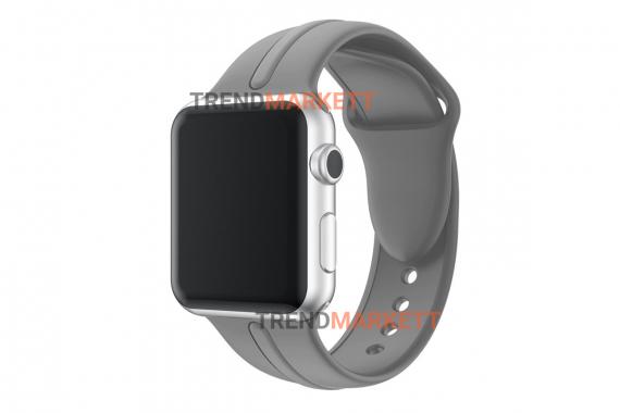 Ремешок для часов силиконовый серый Apple Watch 42/44 mm