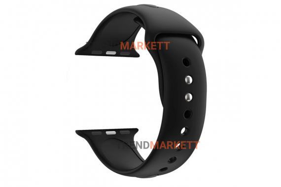 Ремешок для часов силиконовый черный Apple Watch 38/40 mm
