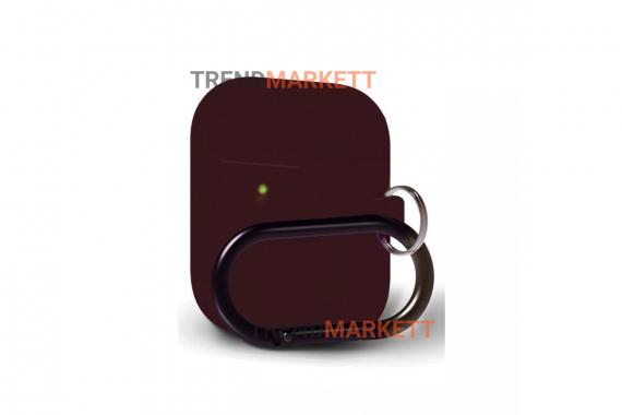 Чехол для AirPods 1/2 Smart Case с карабином Burgundy