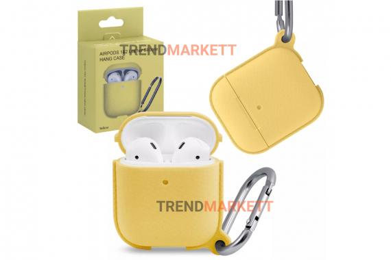 Чехол для AirPods 1/2 Smart Case с карабином Yellow