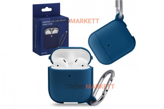 Чехол для AirPods 1/2 Smart Case с карабином Dark Blue