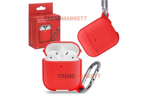 Чехол для AirPods 1/2 Smart Case с карабином Red