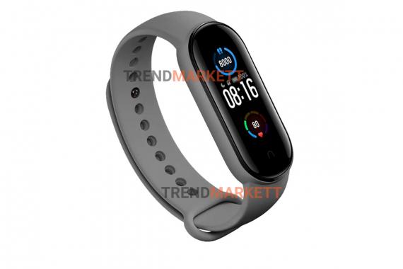 Ремешок для часов miBand5 силиконовый серый