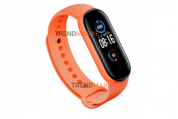 Ремешок для часов miBand5 силиконовый оранжевый