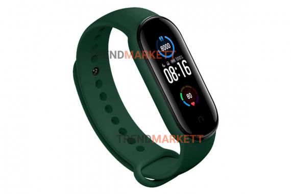 Ремешок для часов miBand5 силиконовый зеленый
