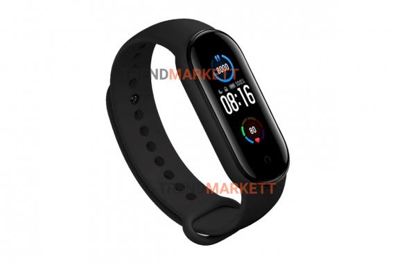 Ремешок для часов miBand5 силиконовый черный