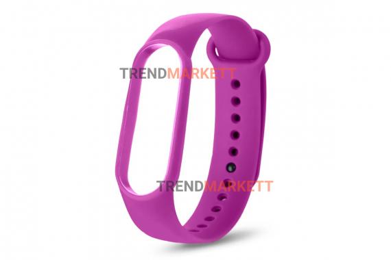 Ремешок для часов miBand 3/4 силиконовый фиолетовый