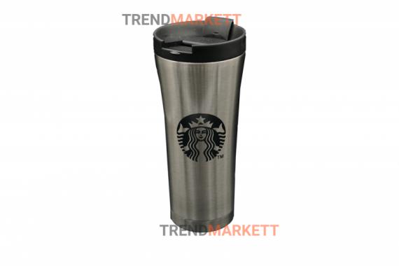 Термо-кружка «Starbucks» металлическая серая
