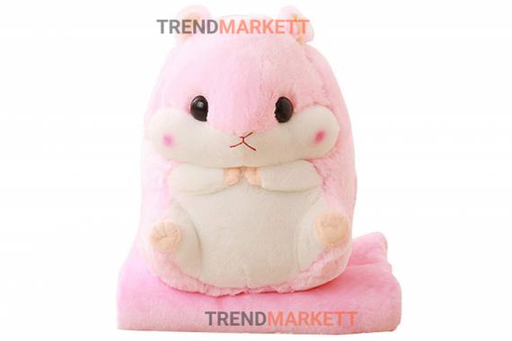Игрушка-подушка «Хомяк 3 в 1 розовый» с пледом