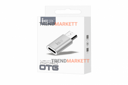 Переходник Apple Lightning 8-Pin на Micro USB, серый, ISA, P-07