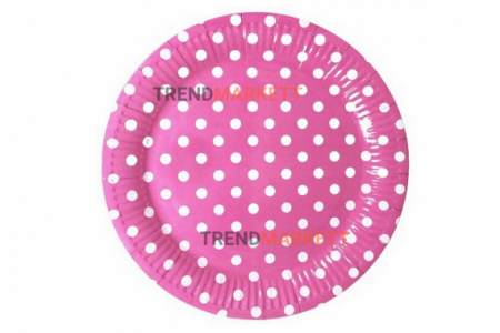 Тарелка бумажная розовая в белый горох 10 шт.