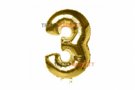 Шар цифра «3» золото