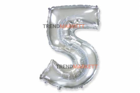 Шар цифра «5» серебро