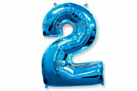 Шар цифра «2» синий