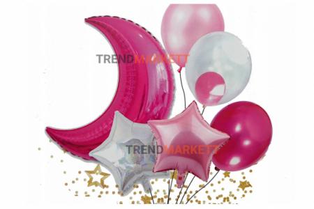 Набор шаров с луной 7 шт. розовый