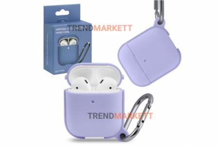 Чехол для AirPods 1/2 Smart Case с карабином Light Purple