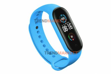 Ремешок для часов miBand5 силиконовый голубой