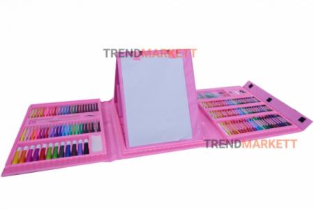 Художественный набор «Чемодан творчества» 208 предметов (розовый)