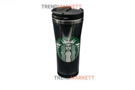 Термо-кружка «Starbucks» пластмассовая черная
