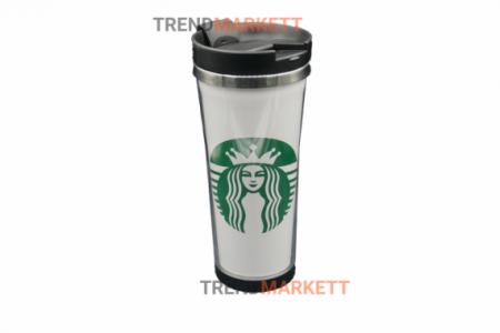 Термо-кружка «Starbucks» пластмассовая белая