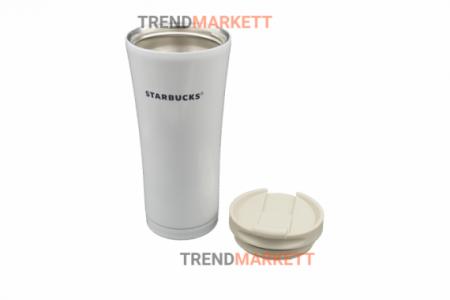 Термо-кружка «Starbucks» металлическая белая